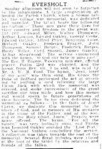 Eversholt | Bedfordshire Times and Independent | Friday 30 July 1920 | British Newspaper Archive