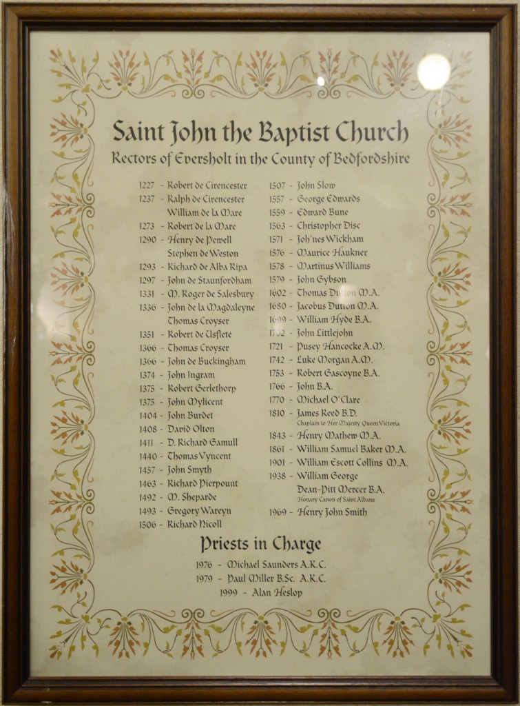 Eversholt Church Rectors Poster