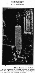 Eversholt War Memorial. | Bedfordshire Times and Independent | Friday 13 May 1921 | British Newspaper Archive