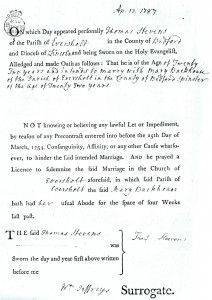 19 Thomas Marriage Licence