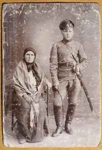 This is the most poignant and most precious. It was Alec's only possession from Ukraine, and shows Alec as a young man with his mother. It could have been taken in 1914 when he joined up with the Cossack regiment, making Alec 16 years old. Photo from Alec Boulanoff via Dick Hull and then Terry and Christopher Hawkes.
