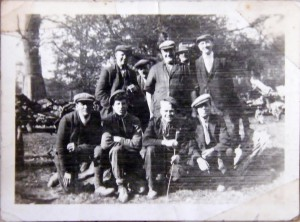 Frederick Bunker, front row right, at work on the Bedford Estate, 1930s.