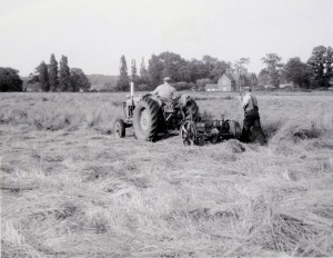 Geoff Abbiss on the tractor in Tyrells End. (That's my house at the back! - Emrys)