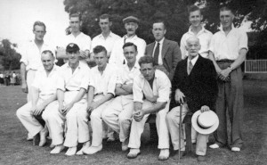 "Is this the team that played in the match above? Don Impey thinks that this picture was taken about 1948 and these people are (L to R, back to Front): Dick Oakley (Ivy's husband), Bill Fleckney (Doreen's husband), Cecil ""Knocker"" Brown, Alf Goodwin (umpire), John Oakley (he lived in the house behind Berrystead), Pat Barr, Rex Jeffs; Ted Jarvis (the butcher), Ben Oakley (brother to Dick), Michael Anstey (he had the coal merchants in Woburn Sands), Ken Cousins, Frank Fleet (captain and father of Ann), Tom Brazier (in jacket)."