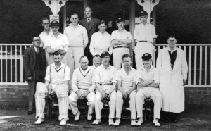 "Don Impey thinks these people are (L to R, back to front): John Oakley (in jacket), Dick Oakley, ?,?, Jim Smith (secretary, lived at Holly Hedges), Bert Oakley, Mick Ryan; ""Knocker"" Brown, Ted Jarvis (the butcher), Tom Norris, Ben Oakley, Mick Anstey, Pat Barr."