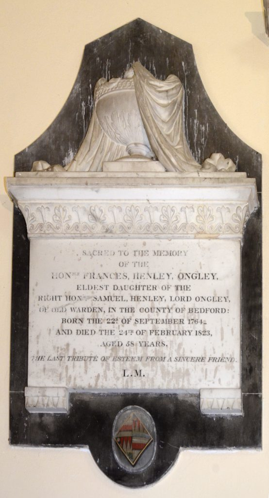 Plaque to Frances Henley Ongley
