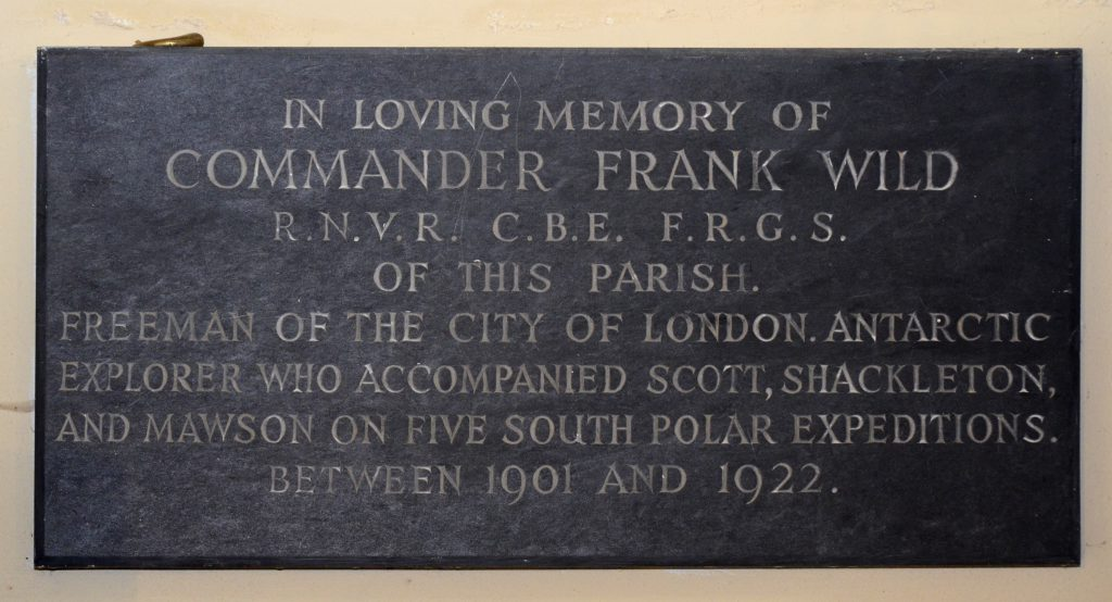 Plaque to Frank Wild