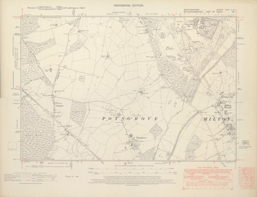 1947 Potsgrove six inch map